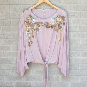 Free People Tie Waist Embroidered Floral Blouse
